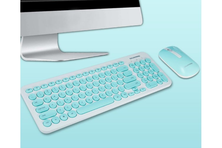 Retro Silent Keyboard 2.4G Wireless Keyboard And Mouse Set - Blue Blue