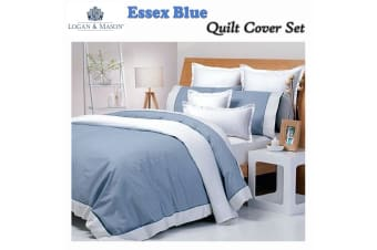Essex Blue Quilt Cover Set DOUBLE
