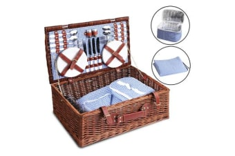 Alfresco Willow 4 Person Picnic Basket (Blue/White)