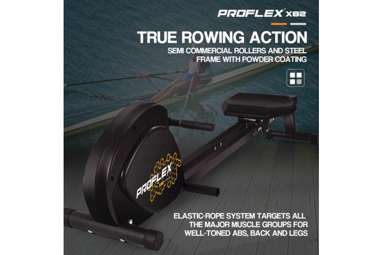 PROFLEX Rowing Machine Workout Seated Exercise Indoor Gym Rower Compact Fitness