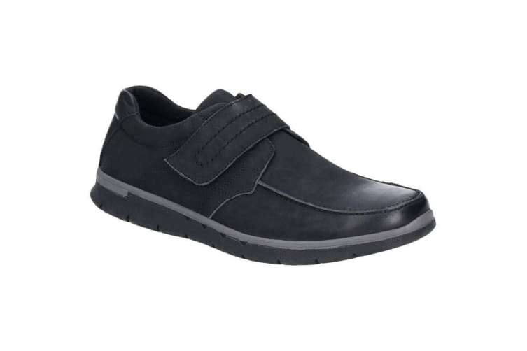 Hush Puppies Mens Duke Touch Fastening Nubuck Leather Shoe (Black) (10 UK)