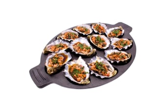 Integra Forte 35.5cm Cast Iron Dozen Oysters Seafood Shell Grill Tray Plate Pan