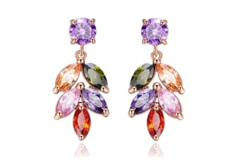 Women Gold Plated Colorful cubic zirconia leave earring 49