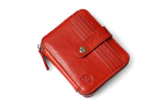 Genuine Leather Zipper Wallet Business & Credit Card Case Holder Bifold Red