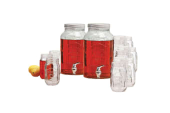 2pc Avanti Glass Beverage Water Dispenser 5.7L Set of 12 470ml Mason Jars Drinks