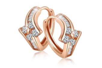 Kindle Huggies Earrings-Rose Gold/Clear