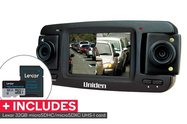 Uniden Full HD Three Camera Black Box Vehicle Recorder with Reverse Camera with Lexar 32GB High-Endurance microSDHC/microSDXC UHS-I card