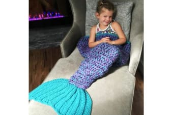 Knitted Mermaid Tail Blanket Crochet Leg Wrap Kids Child Blue Green 130X60Cm