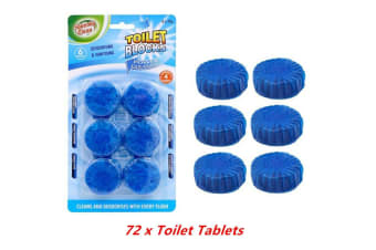 72 x Blue Toilet Tablet Deodorizer Flush Anti Bacterial Cleaner Stain Remover Blocks