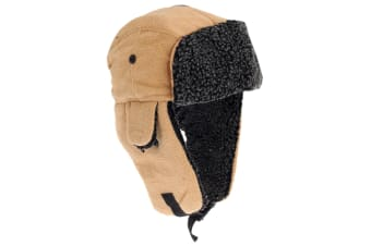 EX-STORES Unisex Mens/Womens Fleece Trapper Hat  Ski Hat (Light Camel)