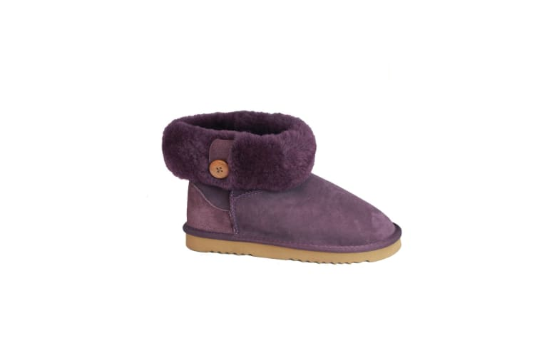 Eastern Counties Leather Womens/Ladies Freya Cuff And Button Sheepskin Boots (Purple) (8 UK)