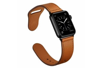 Apple Watch Band Genuine Leather Strap iWatch Series 5 4 3 2 1 for 42mm/44mm-Brown