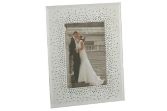 Juliana Wedding Mirror Frame With Starburst Crystals (White/Silver)