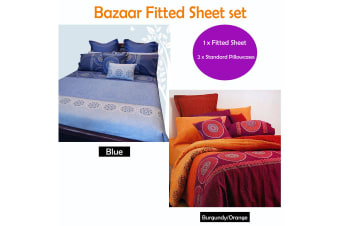 Bazaar Fitted Sheet Set BLUE by Hotel Living