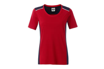 James and Nicholson Womens/Ladies Workwear 2 Level T-Shirt (Red/Navy) (L)