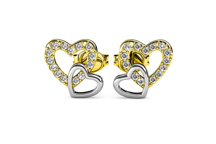Twin Hearts Stud Earrings Embellished with Swarovski crystals