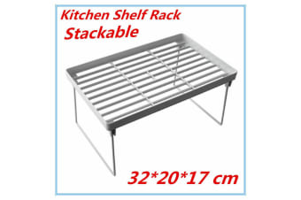 3 x Medium Collapsible Shelf Rack Kitchen Pantry Plastic Food storage Organiser Bathroom Office FD