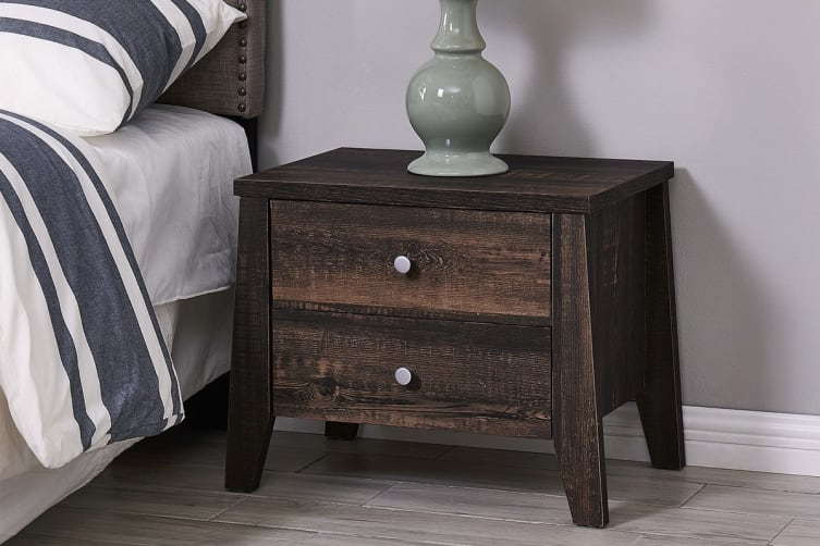 Shangri-La 2 Drawer Bedside Table - Camden Collection (Dark Oak)