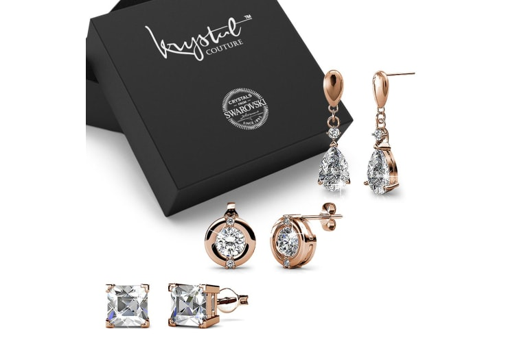 Boxed 3 Pairs of Rose Gold Earrings Set Embellished with Swarovski Crystals
