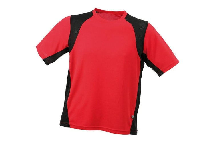 James and Nicholson Mens Sublimation Running Top (Red/Black) (L)