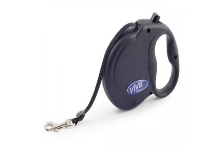 Ancol Viva Retractable Dog Lead (Black) (Medium Dog)