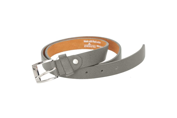 Forest Mens Thin Real Leather Belt (Grey) (XXL)