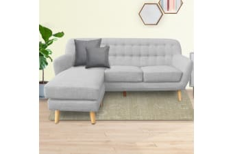 Sarantino Linen Corner Sofa Couch Lounge L-shaped w/ Chaise Light Grey