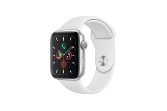 Apple Watch Series 5 (Silver Aluminum, 44mm, White Sport Band, Cellular)