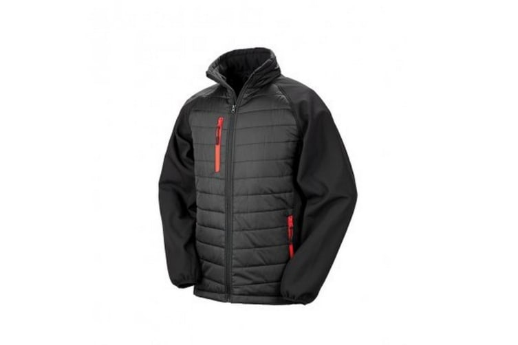 Result Mens Black Compass Padded Soft Shell Jacket (Black/Red) (3XL)