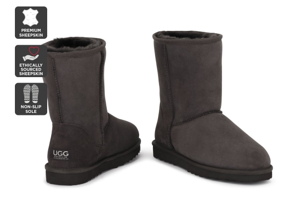 Outback Ugg Boots Short Classic - Premium Sheepskin (Chocolate, Size 8M / 9W US)