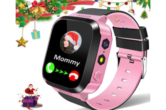 Kids Smart Watches for Girls Boys GPS Tracker Smartwatch Phone 2 Way Call Voice Messages SOS Game Camera Flashlight Alarm Clock-Pink