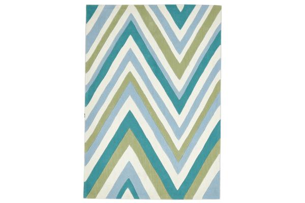 Multi Chevron Rug Light Blue Green 225x155cm