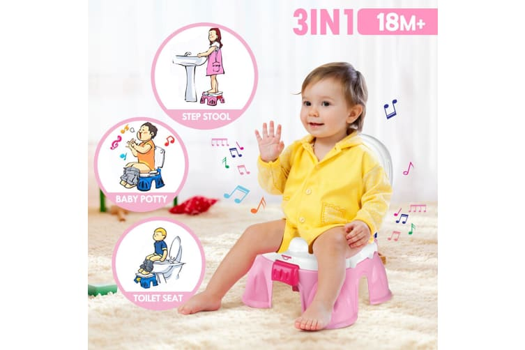3-in-1 Baby Toddler Toilet Trainer Kids Potty Training Safety Music Seat Chair - Pink