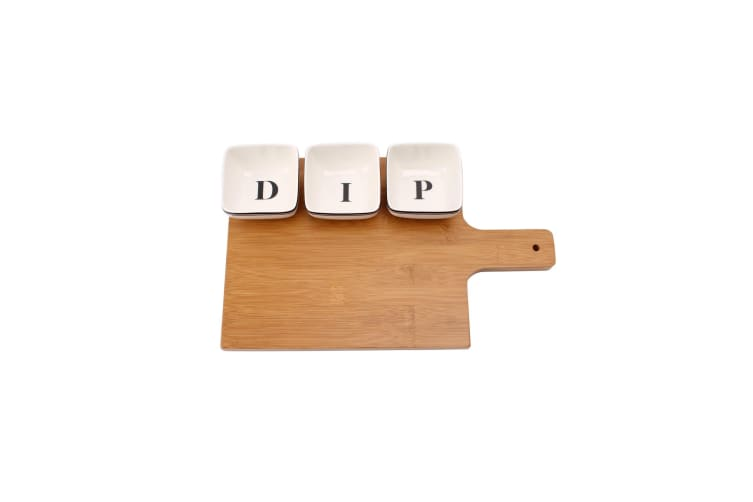 Loft Dip Dishes & Wooden Board Set (White/Brown) (One Size)