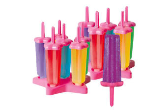Avanti Star Ice Block Moulds 12pc Set Juice Cocktail Kids Popsicle Icy Pole Pink