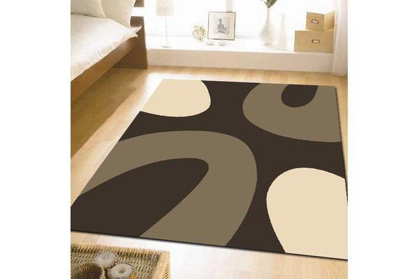 Funky Modern Rings Rugs Brown Beige 230x160cm