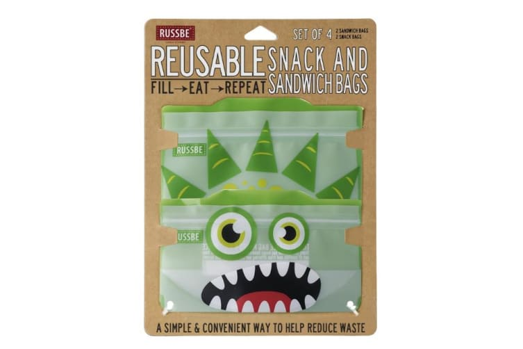 Russbe Snack and Sandwich Bag Set of 4 Green Monster