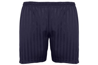 Maddins Kids Unisex Shadow Stripe Sports Shorts (Navy) (18-20)