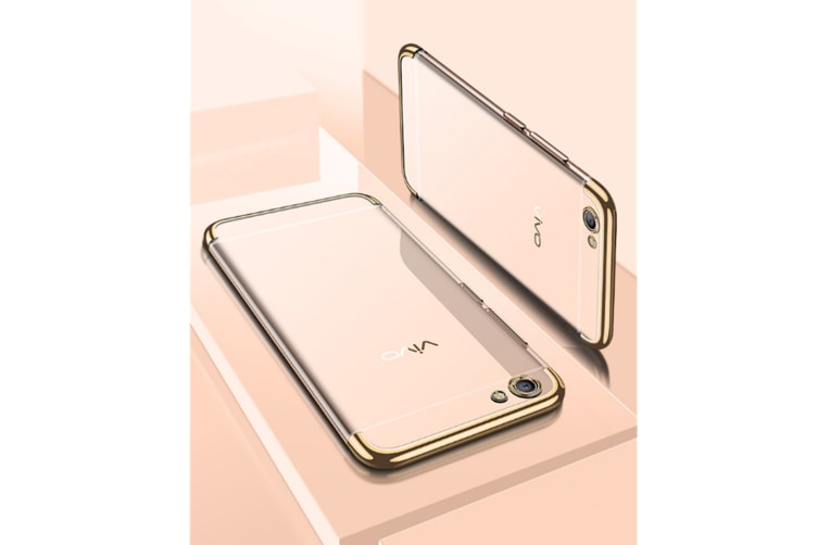 Three Section Of Electroplating Tpu Slim Transparent Phone Shell For Vivo Gold Vivo Y55