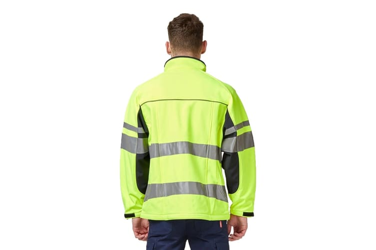 Hard Yakka Men's Hi Vis Two-Tone Long Sleeve Soft Shell Jacket (Yellow/Navy, Size L)