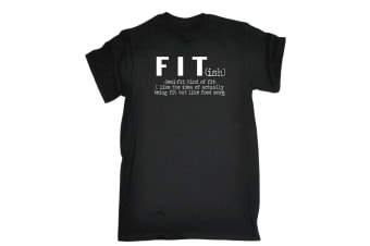 123T Funny Tee - Fit Ish But Like Food More - (3X-Large Black Mens T Shirt)