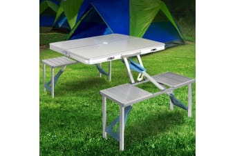 Weisshorn Folding Camping Table and 4 Chairs Set Portable Picnic Outdoor Garden BBQ Setting