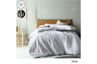 Vintage Washed Cotton Quilt Cover Set White Queen