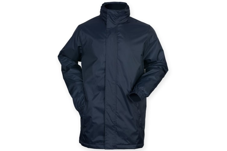 Finden & Hales Mens Touchline Hooded Full Zip Sports Jacket (Navy) (S)