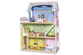 Wooden DIY Dolls Doll House 3 Level Kids Pretend Play Toys Full Furniture Set MRE