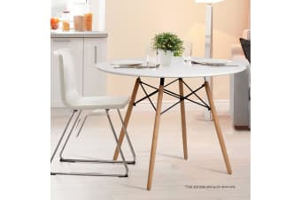 Artiss 4-Seater Round Replica Eames DSW Eiffel Dining Table Kitchen Timber White