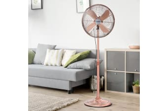 Devanti Pedestal Fan Metal Vintage Portable Fans Oscillating Tilt Chrome 3 Speed