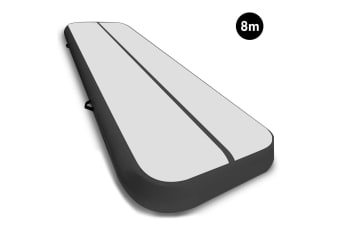 8m Airtrack Tumbling Mat Gymnastics Exercise 20cm Air Track Grey Black