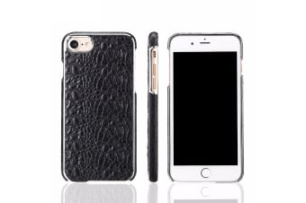 For iPhone 8 7 Case Fierre Shann Crocodile Durable Genuine Leather Cover Black