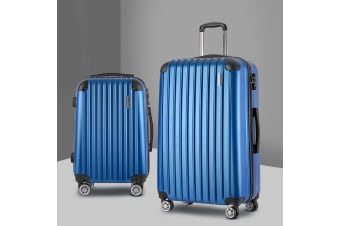 Wanderlite 2PCS Carry On Luggage Sets Suitcase Travel Hard Case Lightweight Blue